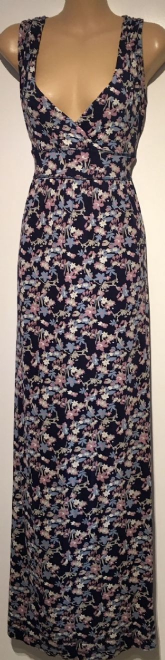 FAT FACE NAVY FLORAL LONG MAXI DRESS SIZE UK 14